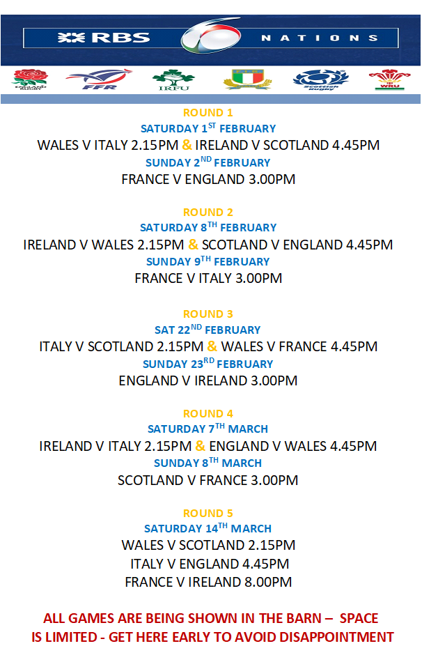 The Six Nations comes to The Black Lion!